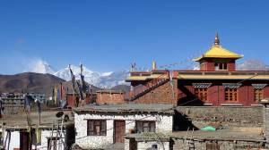 Vue démente depuis notre hôtel de Muktinath sur le Dhaulagiri (8167m)